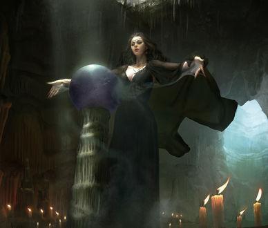 Обои Ведьма в черном одеянии колдует, by sangsu jeong