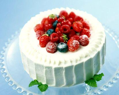 Обои Бисквитный торт с кремом и ягодами на прозрачной подставке
