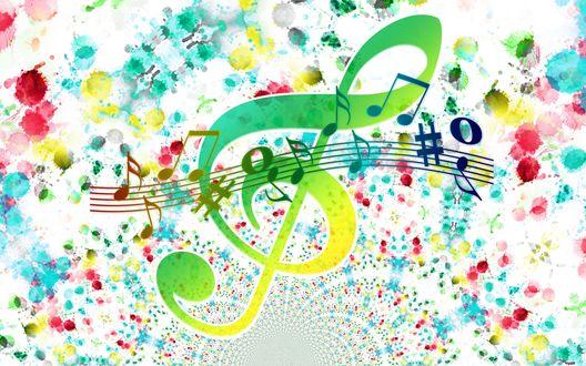 Обои Скрипичный ключ, ноты, нотный стан на разноцветных размытых пятнах