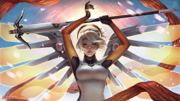 Обои Mercy / Ангел / Ангела Циглер из игры Overwatch / Дозор, by serafleur