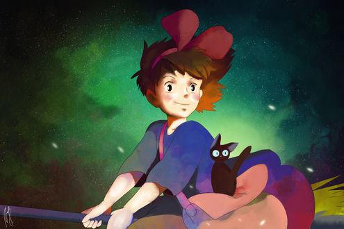 Обои Kiki / Кики и Jiji / Джиджи из аниме Kikis Delivery Service / Ведьмина служба доставки, by Andreanable