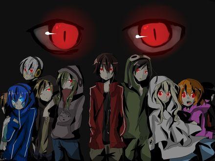 Обои Kido Tsubomi / Цубоми Кидо и другие с горящими глазами из аниме Призрачный Проект / Kagerou Project, art by Shidu