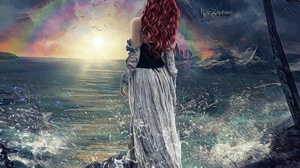 Обои Девушка стоит у моря на фоне неба с радугой, by Kat Zaphire