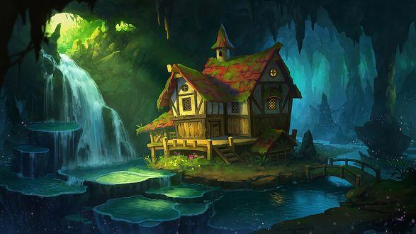 Обои Сказочный домик на островке, посреди леса, by Dan Zhao
