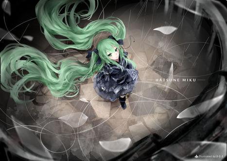 Обои Vocaloid Hatsune Miku / Вокалоид Хатсуне Мику смотрит вверх, art by Sanae Jomill04