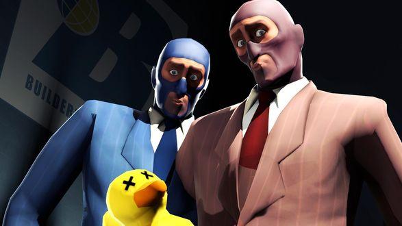 Обои Два шпиона / spy из игры Team Fortress 2 и желтая резиновая уточка