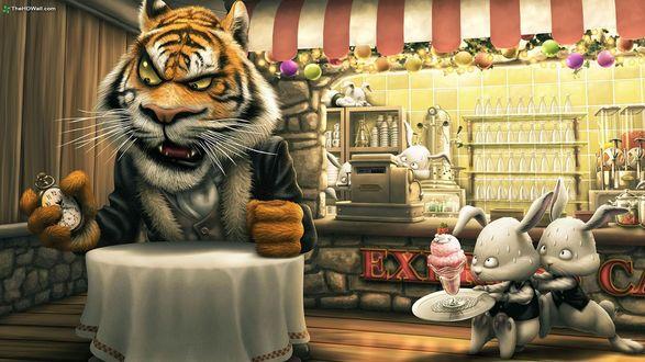 Обои Тигр в кафе для кроликов