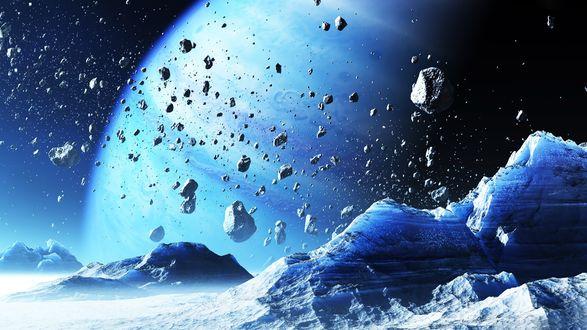 Обои Ледяные горы на спутнике голубой планеты на фоне пояса астероидов