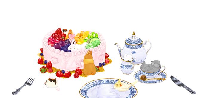 Обои Кролики и птички на обеденном столе, by らいらっく