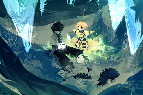 Обои Мальчик с роботом сидит на траве, by Pixiv Id 53928