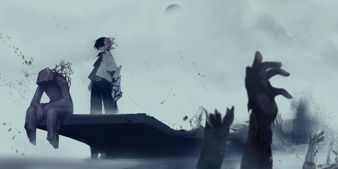 Обои Мальчик стоит около монстра, виднеются руки на их фоне, by Pixiv Id 53928