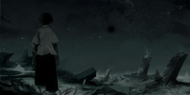 Обои Мальчик смотрит на море, by Pixiv Id 53928