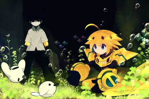 Обои Мальчик с роботом и две белые птицы роботы под водой, by Pixiv Id 53928