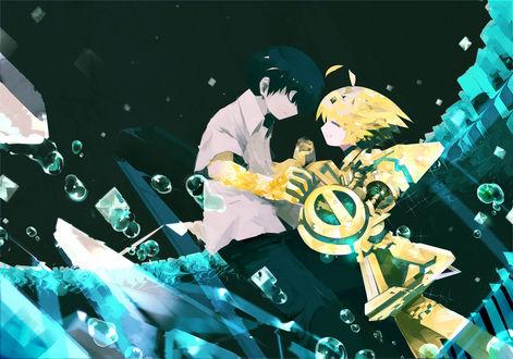 Обои Мальчик с роботом под водой, by Pixiv Id 53928