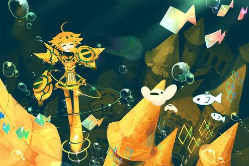 Обои Робот в подводном мире, by Pixiv Id 53928