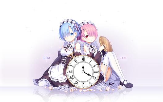 Обои Служанки Рем / Рэм / Rem и Ram / Рам из аниме Re: Жизнь в альтернативном мире с нуля / Re: Zero kara Hajimeru Isekai Seikatsu сидят спиной к спине за большими часами