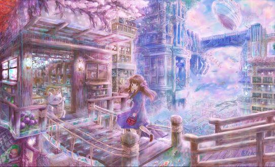 Обои Девочка бежит по мостику в магазинчик, на пороге которого сидит maneki neko, art by Pikuko