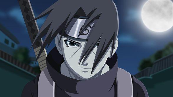 Обои Итачи Учиха / Itachi Uchiha из аниме Наруто / Naruto, art by Masashi Kishimoto