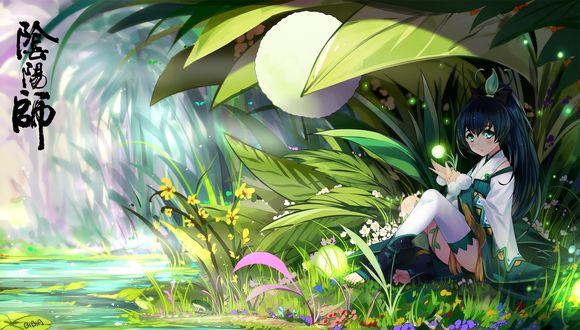 Обои Маленькая девочка-фея сидит под листом в траве у ручья