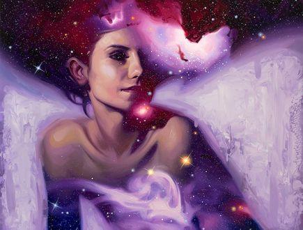 Обои Девушка с изображением на ней космоса, by robrey