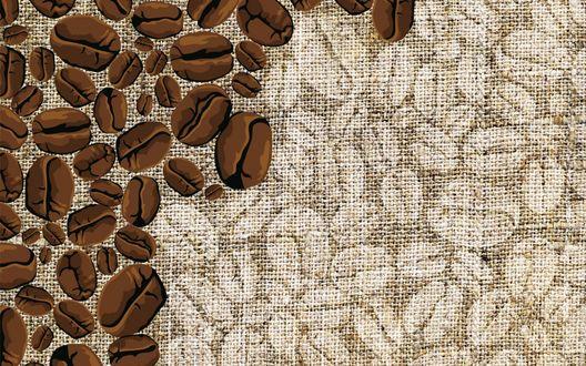 Обои Зерна кофе, нарисованные на мешковине