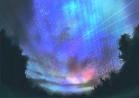 Обои Следы от трех падающих звезд в ночном небе, by yooh_2