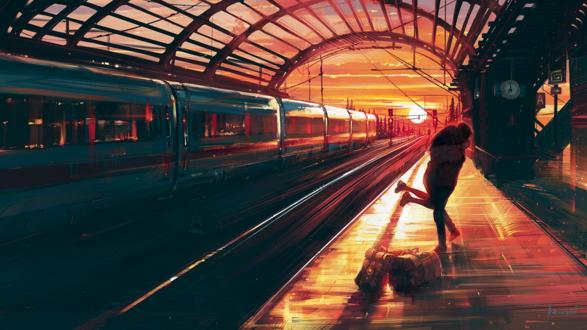 Обои Встреча влюбленных на вокзале, by Aenami