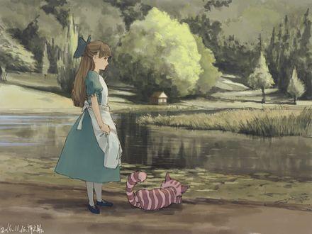 Обои Alice / Алиса и Cheshire Cat / Чеширский Кот из сказки Alice in Wonderland / Алиса в стране чудес, by 禅之助