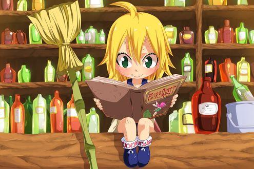 Обои Чиби Люси Хартфилия / Lucy Heartfilia читает книгу из аниме Сказка о Хвосте феи / Fairy Tail, art by Planeptune Mavis