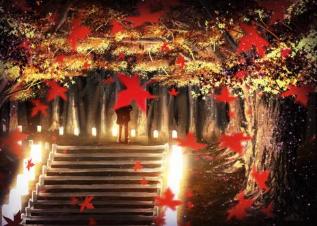 Обои Парень и девушка целуются, стоя на лестнице в круге света от фонариков, by 真衣