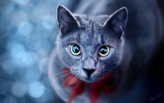 Обои Пепельная кошка с красным бантиком на шее, by Martith
