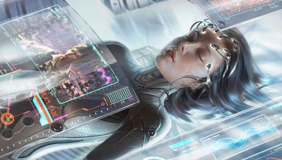 Обои Девушка-киборг с закрытыми глазами лежит на столе в научной лаборатории