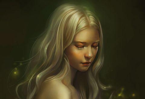 Обои Обнаженная девушка блондинка с длинными волосами опустила глаза, by saisai ye