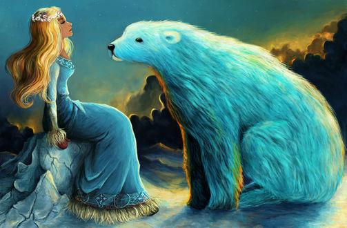 Обои Белый медведь сидит перед девушкой, иллюстрация к сказке East of the Sun, West of the Moon / К востоку от Солнца, к западу от Луны, by agartaa
