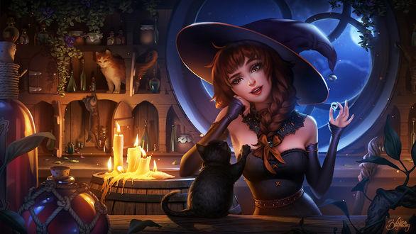 Обои Ведьмочка держит в руке капельку с рыбкой внутри, к которой тянется черный котенок, by Zolaida