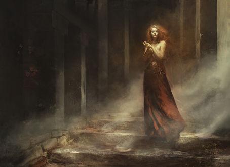 Обои Девушка стоит в дыму, by Deharme