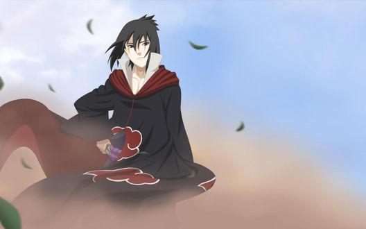 Обои Uchiha Sasuke / Учиха Саске в плаще akatsuki из аниме Наруто / Naruto