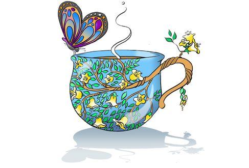 Обои Чашка с изображением на ней цветущего дерева и бабочки, by rudat