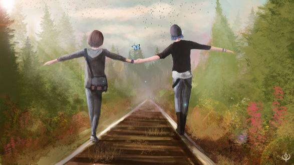 Обои Парень с девушкой, держась за руки, идут по рельсам железной дороги, by MajdAddin-M-Alhasi