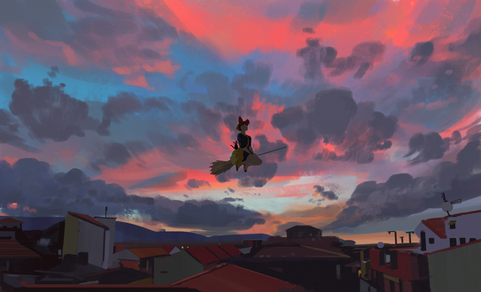 Обои Kiki / Кики и Jiji / Джиджи из аниме Kikis Delivery Service / Ведьмина служба доставки