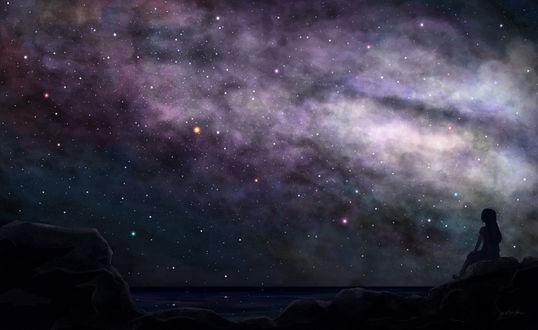 Обои Девушка на берегу моря любуется ночным небом, by ゆーはく