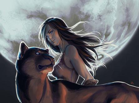 Обои Девушка с пантерой на фоне огромной луны, by keiiii