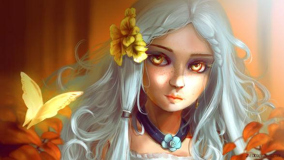 Обои Белокурая девушка с цветами в волосах, смотрит на бабочку, by JaezX