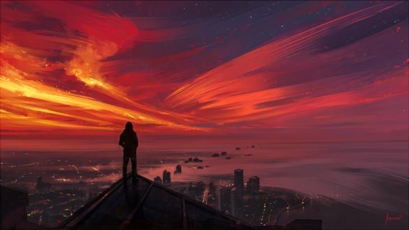 Обои Парень стоит на крыше на фоне города, by Aenami
