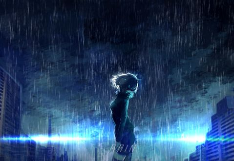 Обои Девушка в наушниках с ушками стоит под проливным дождем, глядя в ночное небо, посреди городской улицы, RAIN / дождь, art by Tarbo