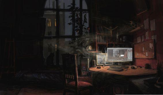 Обои Включенный монитор, из которого вылетает череп, стоящий в пустой темной комнате, на подоконнике сидит кошка