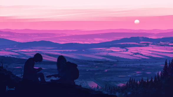 Обои Парень с девушкой с гитарой сидят на фоне природы, by Aenami
