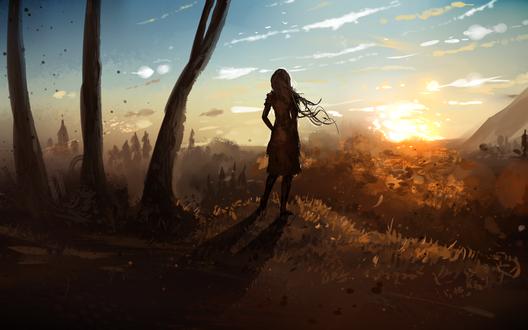 Обои Девушка стоит на фоне заката, by ryky