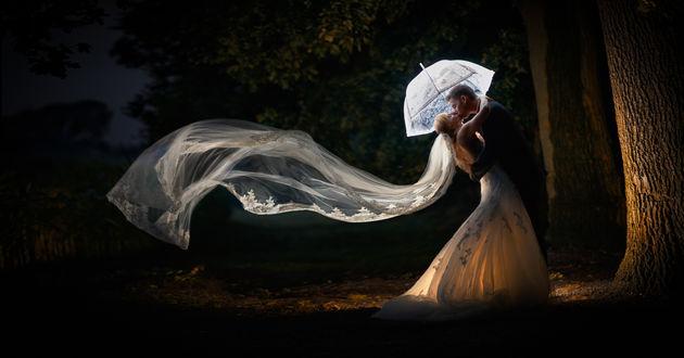Обои Жених целует невесту, стоя под зонтом