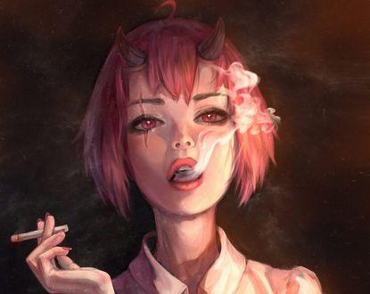 Обои Девушка-чертенок с сигаретой, by Mireys